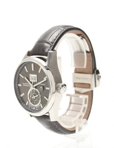 TAG HEUER・時計・カレラ グランドデイト GMTインダイヤル メンズ 腕時計 自動巻き SS レザー シルバー 黒 黒文字盤