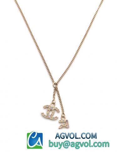 スーパー コピー・アクセサリー・NO5 ココマーク ネックレス ゴールド 水色 ピンク ラインストーン 06A