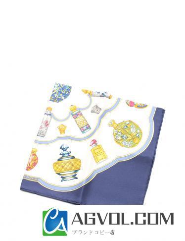 HERMES・財布・小物・カレ45 スカーフ シルク アイボリー ネイビー 黄 マルチカラー