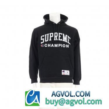 Supreme・トップス・Supreme × Champion Hooded Sweatshirt プルオーバーパーカー ロゴプリント 黒 17SS