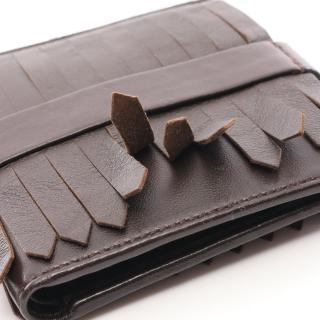 MARNI・財布・小物・ 二つ折り財布 レザー ダークブラウン フリンジ