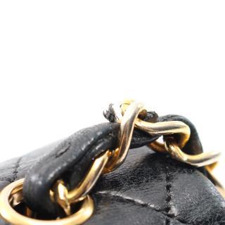 スーパー コピー・バッグ・ミニマトラッセ フルフラップ チェーンショルダーバッグ ラムスキン ブラック ゴールド金具 ターンロック ヴィンテージ